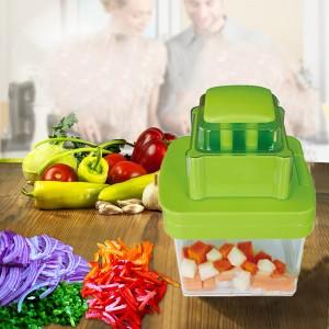 Multifunctional Manual Food Vegetable Chopper Cutter - Green