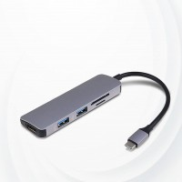 5 In 1 Aluminium USB C Hub With 4K HDMI SD TF USB 3 - Gray