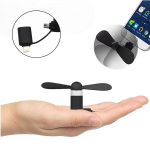 Portable Mini Cooling Fan For Smart Phones - Black