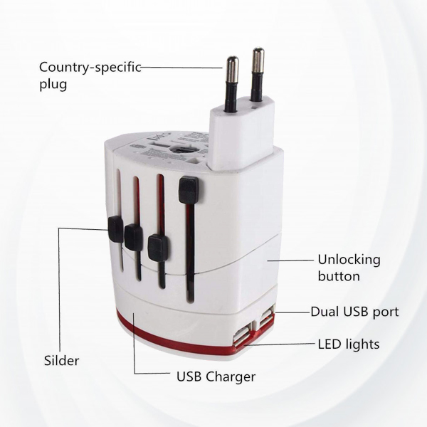 Universal Two Ports USB Charger Travel Adapter