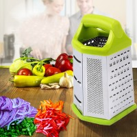 Multipurpose 6 Sided Stainless Steel Vegetable Grater And Slicer - Multicolor