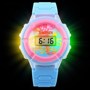 Three Color Lantern Electronic Watch - Sky Blue