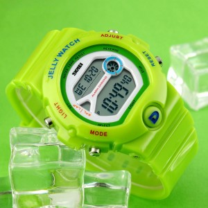 Digital Clear Display Silicon Strap Sports Kids Watch-Green