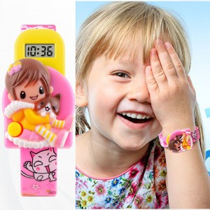 Digital Display Cartoon Doll Toy Girl's Watch- Pink