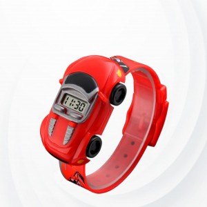 Cute Kids Car Shape Unisex Watch -Red