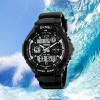 Waterproof Analogue And Digital Wrist Watch - Black