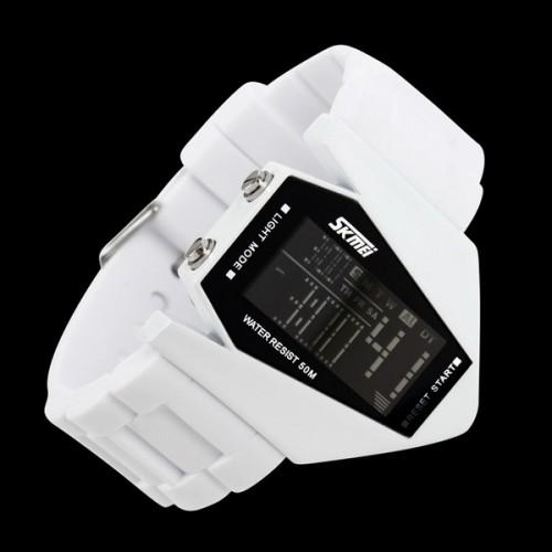 Backlight Aircraft Shape Waterproof Sports Watch - White