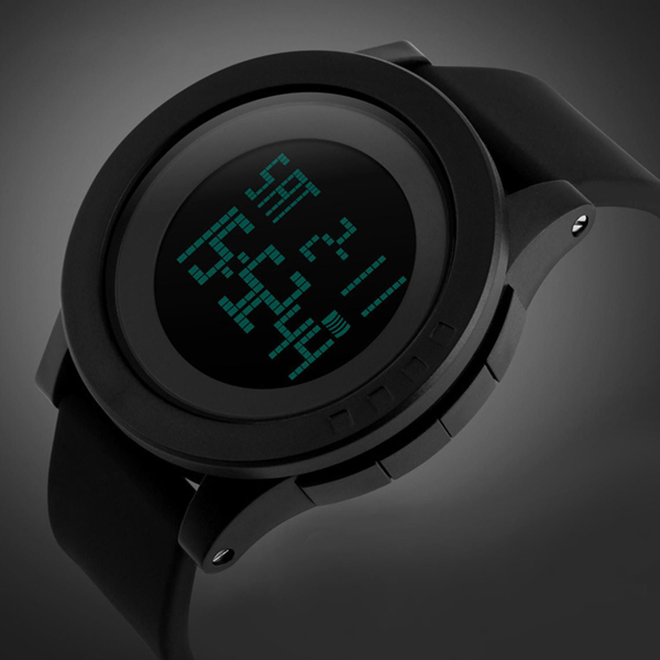 Big Dial Digital Waterproof Wrist Watch - Black