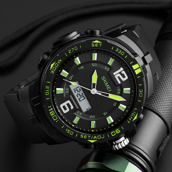 Big Dial Dual Time Display Sport Digital Watch - Green