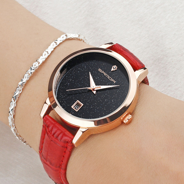 Red Leather Strappy Glitter Wrist Watch