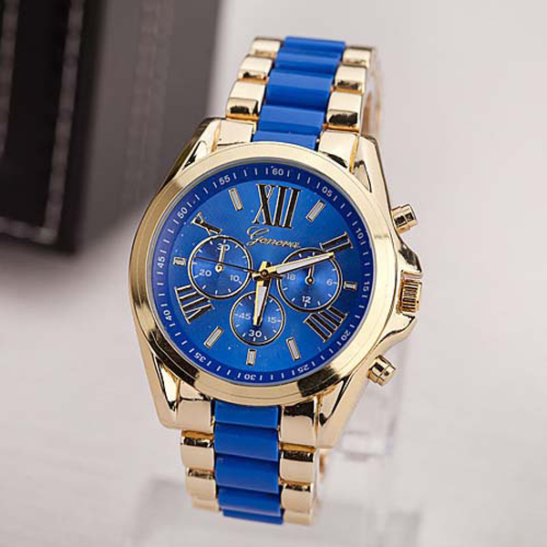 New Design Blue Dial Stainless Wrist Watch - Gold And Blue