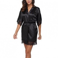 Woman Sleepwear Sexy Satin Robe Lace Dress - Black