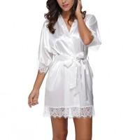 Woman Sleepwear Sexy Satin Robe Lace Dress - White