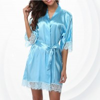 Woman Sleepwear Sexy Satin Robe Lace Dress - Sky Blue