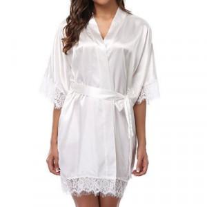 Ladys Sleepwear Sexy Satin Robe Lace Dress - White