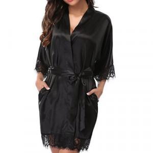 Ladys Sleepwear Sexy Satin Robe Lace Dress - Black