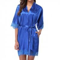 Ladys Sleepwear Sexy Satin Robe Nightwear - Dark Blue
