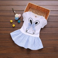 Girl Rabbit Print Short Sleeve Dress - Blue