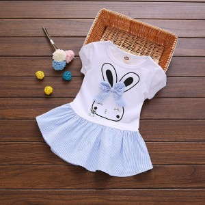 Girl Rabbit Print Short Sleeve Dress - Blue
