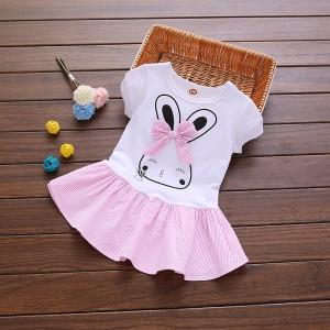 Girl Rabbit Print Short Sleeve Dress - Pink
