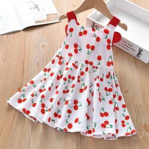 Girls Cherry Print Camisole Dress - Red