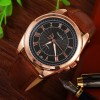 Leather Strapped New Design Wrist Watch -Brown