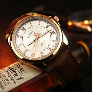 Leather Strapped New Design Wrist Watch -White