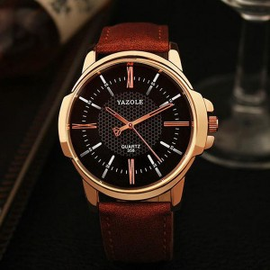 Leather Strapped New Design Wrist Watch - Brown