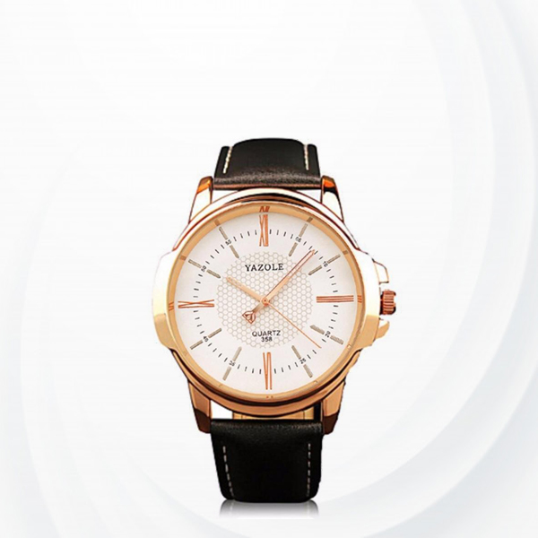 Leather Strapped White Dial Wrist Watch - Black