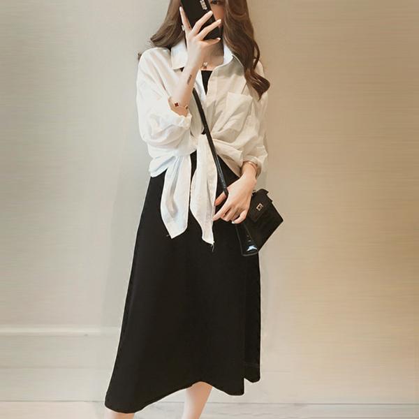 Outwear Thin Shirt With Mini Summer Dress - Black