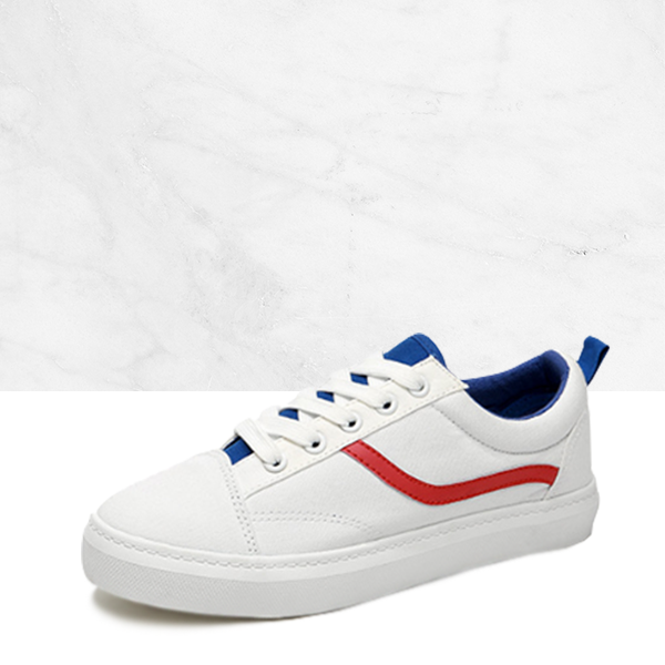 Colorful Contrast White Canvas Sneakers
