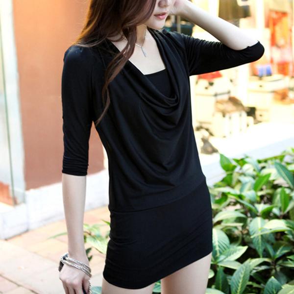Shawl Neck Slim Fit Party Wear Dress - Black
