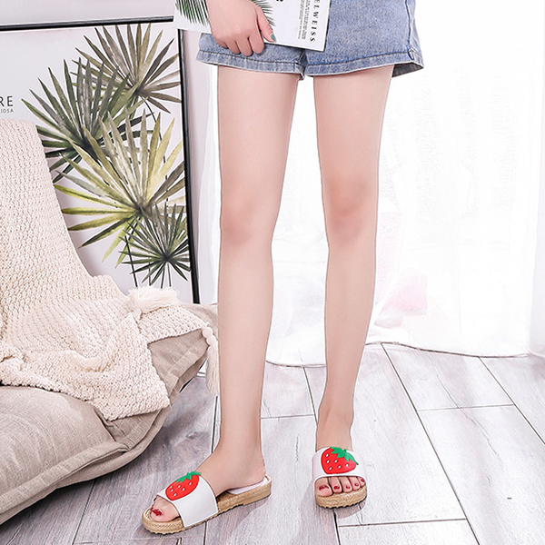 Strawberry Patched Flat Summer Slippers - White
