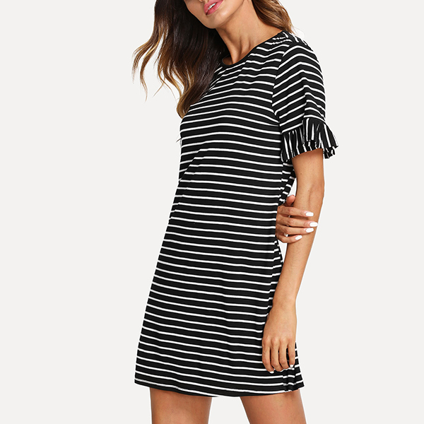 Frill Sleeves Striped Mini Dress - Black And White