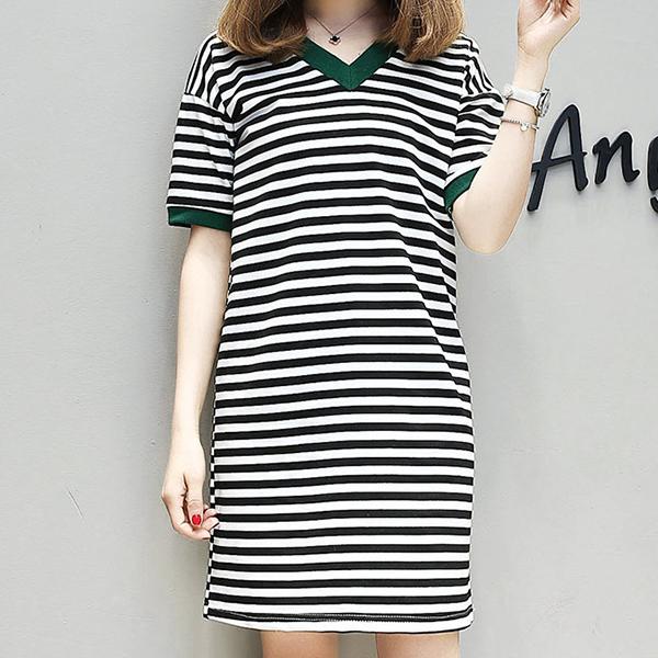 V Neck Striped Casual Mini Dress - Black