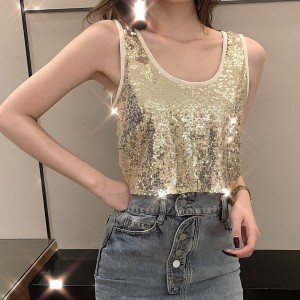 Sequins Decorations Party Wear Top - White