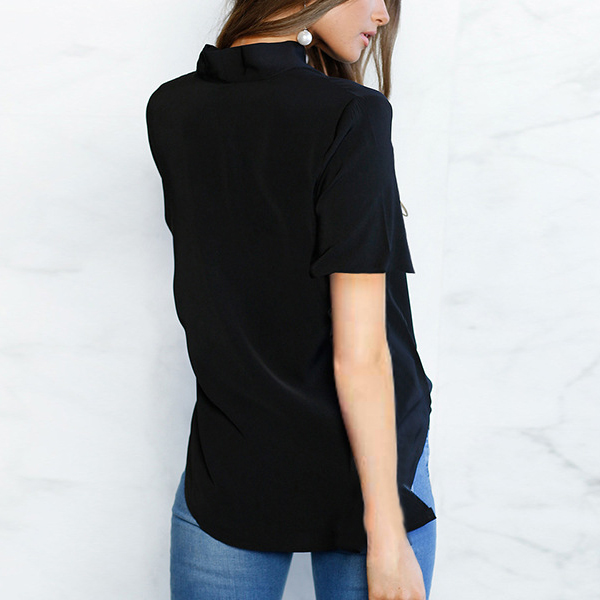 Bow Neck Speaker Sleeved Casual Top - Black