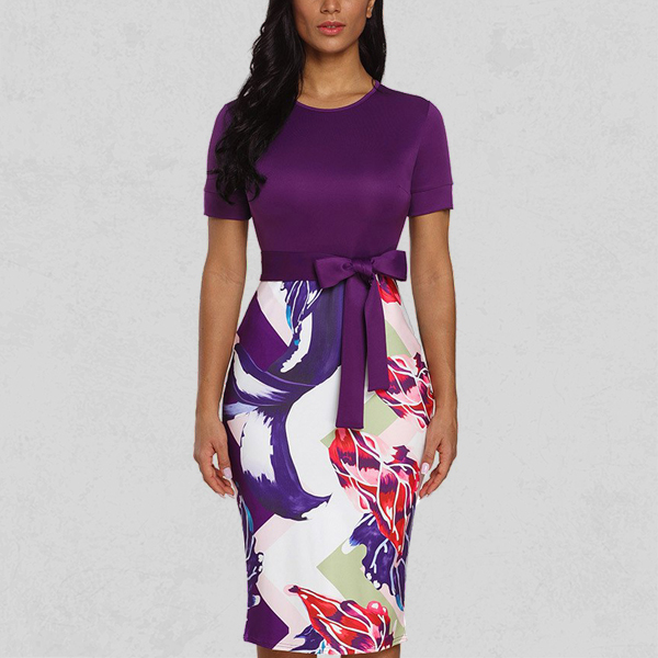 Floral Prints Contrast Mini Casual Dress - Purple