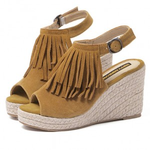 Fringed Leather Hemp Rope Sandals Slope Heavy-Bottomed Shoes Brown