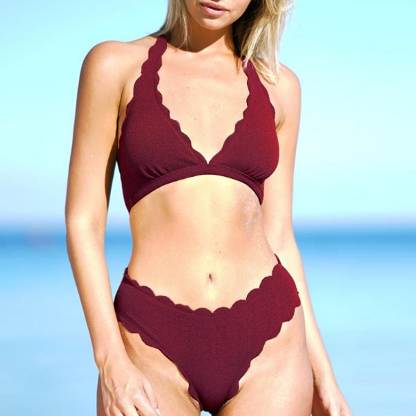 Two Pieces Wavy Halter Neck Swimwear Suit - Burgundy