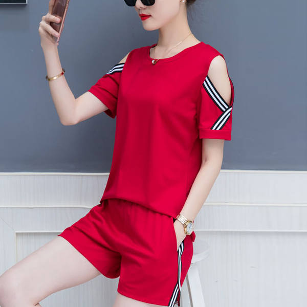 Two Pieces Cold Shoulder Round Neck Sports Suit - Red