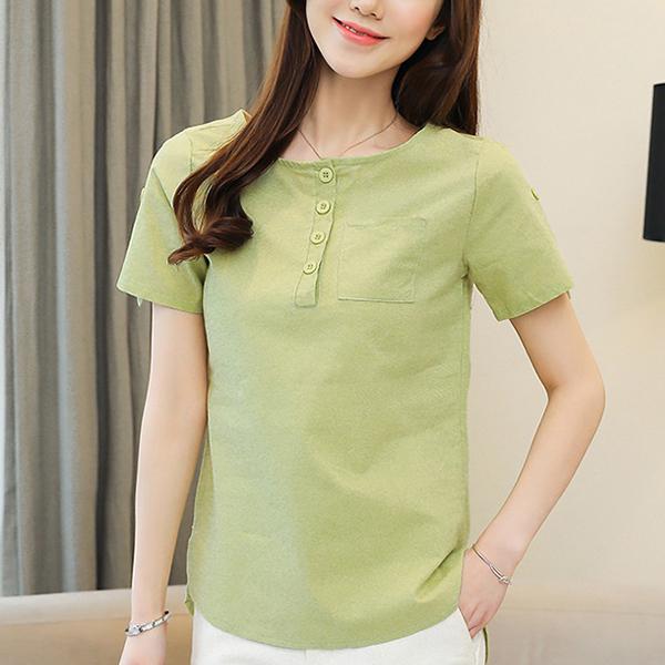 Round Neck Cotton Summer Wear Shirts - Green