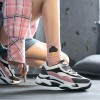 Contrast Thick Bottom Shallow Mouth Sports Shoes - Pink