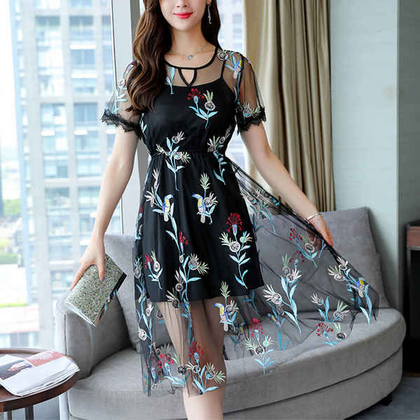 Floral Prints Net Short Sleeves Party Dress - Black