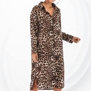 Leopard Prints Shirt Collar Full Dress - Brown