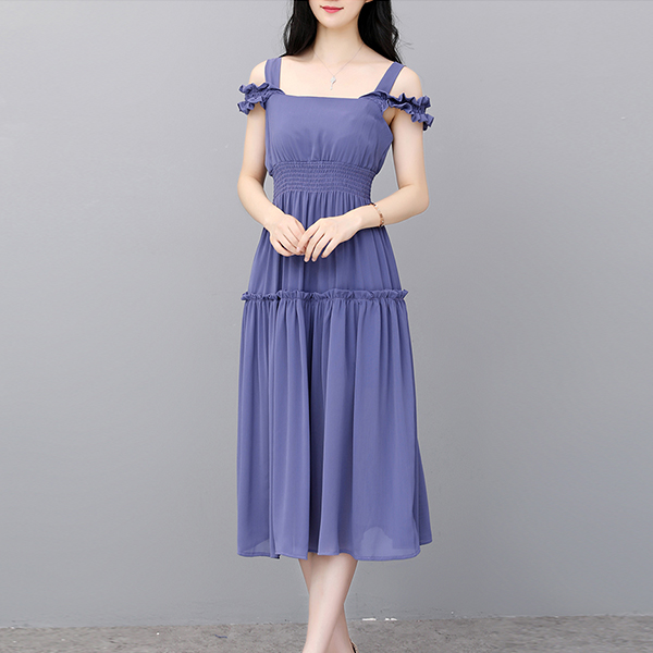 Chiffon Flared Strap Shoulder Midi Dress - Blue