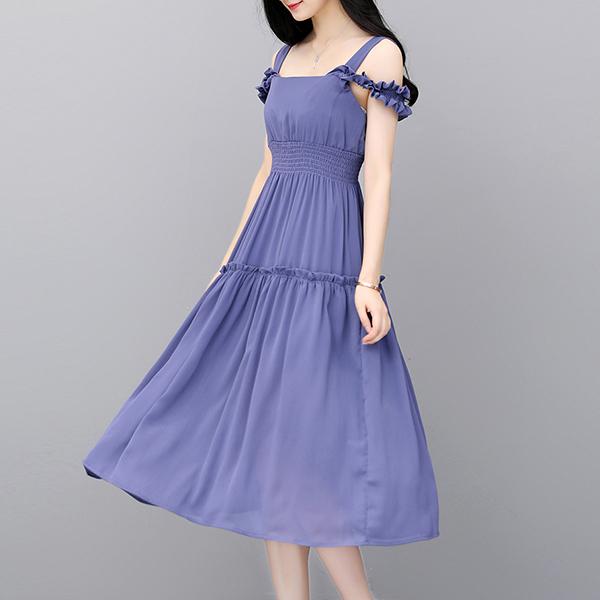 Chiffon Flared Strap Shoulder Midi Dress - Blue