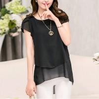 Chiffon Pleated Summer Wear Blouse Shirt - Black