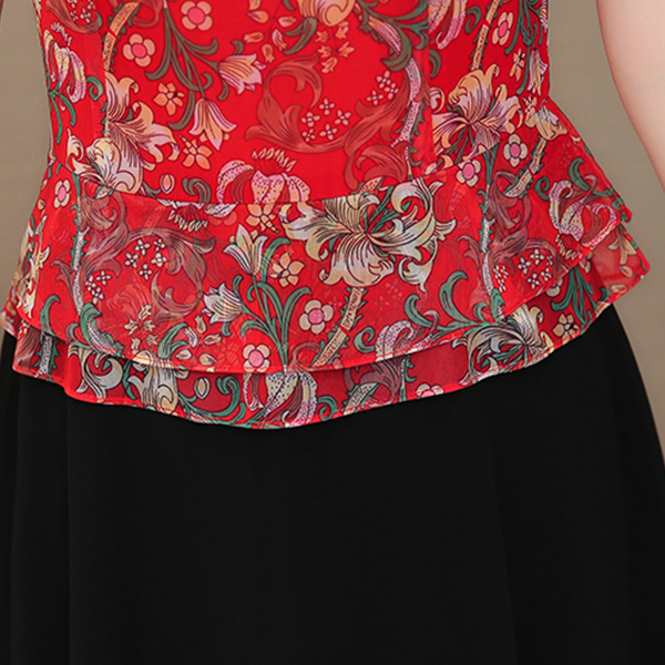 Contrast Fake Two Piece Floral Prints Skirt Dress - Red