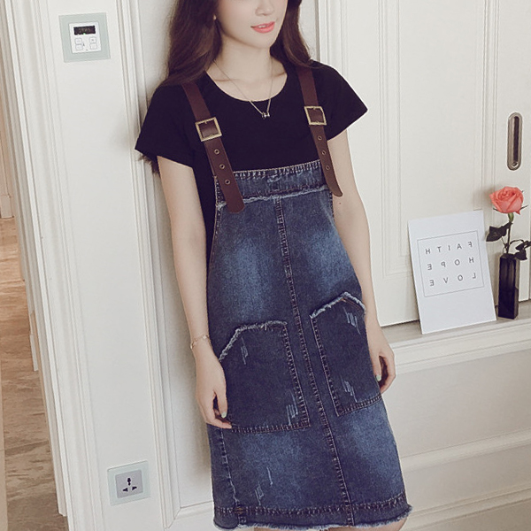 Round Neck Short Sleeves T-Shirt With Bib Skirt